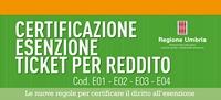 Comunicazione ASL n. 2 dell'Umbria: attestazione esenzione ticket per reddito